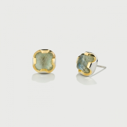 Labradorite Doublet Stud Earrings in Gold Plated Silver -AlmadiPietra
