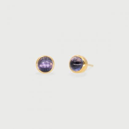 Iolite dainty Stud Earrings in 14K Gold-AlmadiPietra