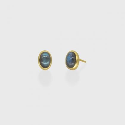 Labradorite Dainty Stud Earrings in 14k Gold-AlmadiPietra