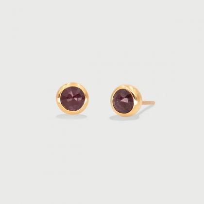 Ruby dainty Stud Earrings in 14K Gold-AlmadiPietra
