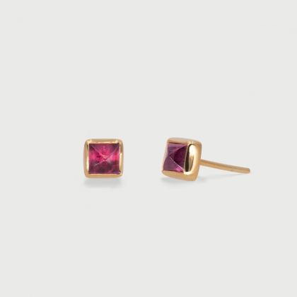 Square Pink Tourmaline dainty Stud Earrings in 14K Gold-AlmadiPietra