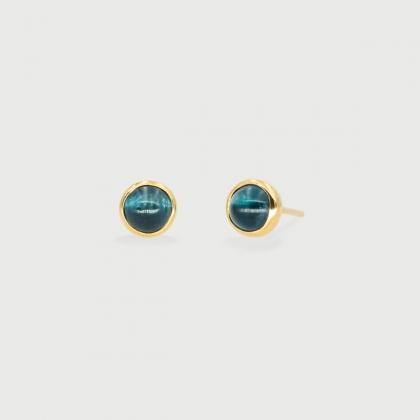 Deep blue Tourmaline dainty Stud Earrings in 14K Gold-AlmadiPietra