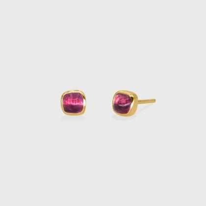 Pink Tourmaline dainty Stud Earrings in 14k Gold-AlmadiPietra