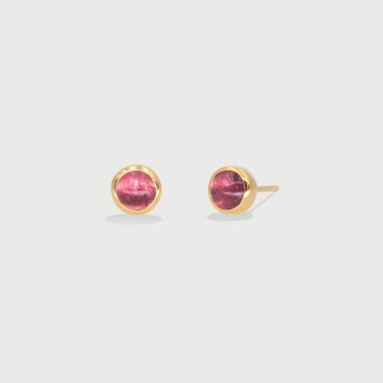Deep Pink Tourmaline dainty Stud Earrings in 14K Gold-AlmadiPietra