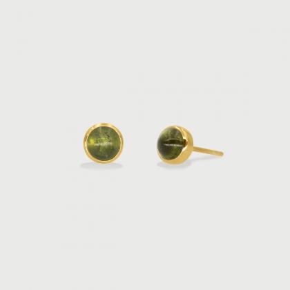GreenTourmaline dainty Stud Earrings in 14k Gold-AlmadiPietra