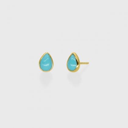 Turquoise dainty Stud Earrings in 14k Gold-AlmadiPietra