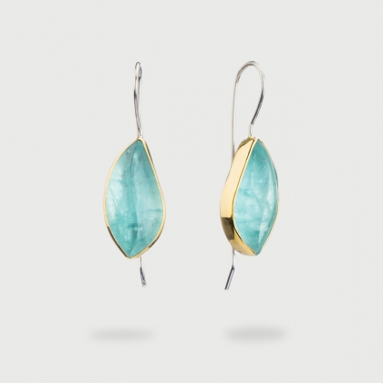 Aquamarine Leaf Shaped Doublet Drop Earrings in Gold 14K and Silver-AlmadiPietra