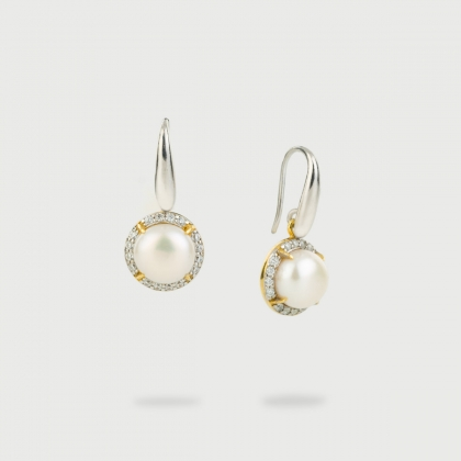 White Freshwater Pearls with White Zircon Gemstones Drop Earrings in Gold Plated Silver-AlmadiPietra