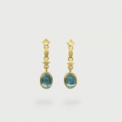 Cabochon Aquamarine Drop Earrings with elements in 18K yellow gold-AlmadiPietra