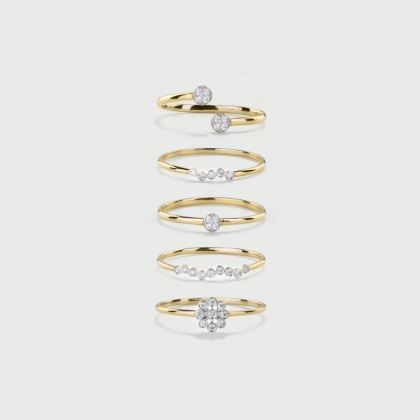 Stackable rings with Diamonds in 14K yellow Gold-AlmaDiPietra
