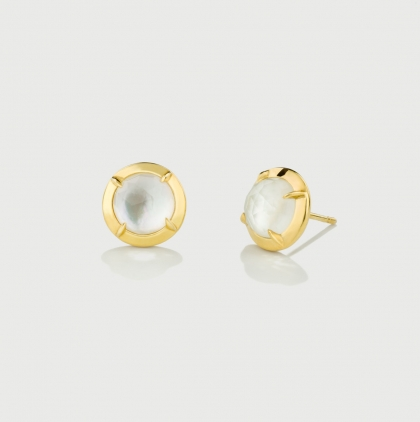 Mother of Pearl Doublet Gold Plated Silver Stud Earrings-AlmadiPietra