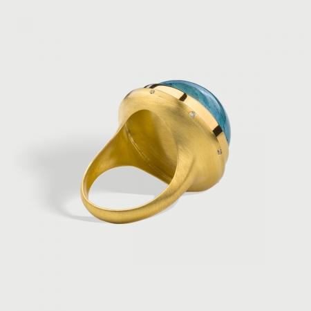 Aquamarine Cabochon with Diamonds Statement Ring in 18K Yellow Gold-AlmaDiPietra