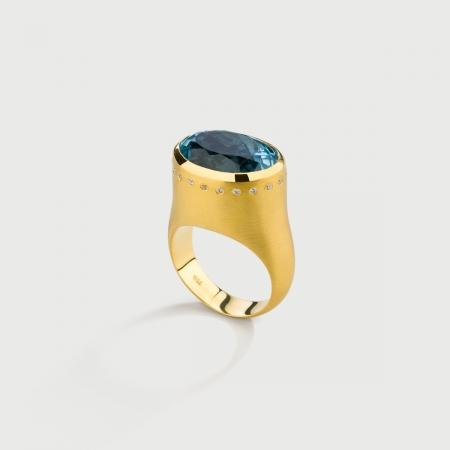 Oval Custom Cut Aquamarine with Diamonds Statement Ring in 18K Yellow Gold-AlmaDiPietra