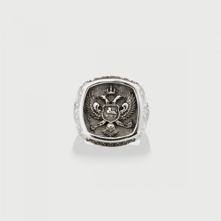Two-Headed Eagle Silver Signet Ring for Him-AlmaDiPietra