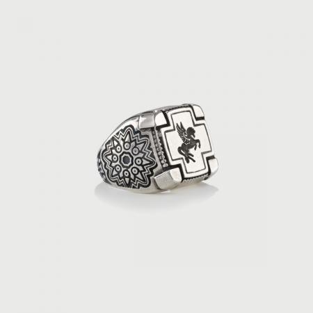 Pegasus Silver Signet Ring for Him-AlmaDiPietra