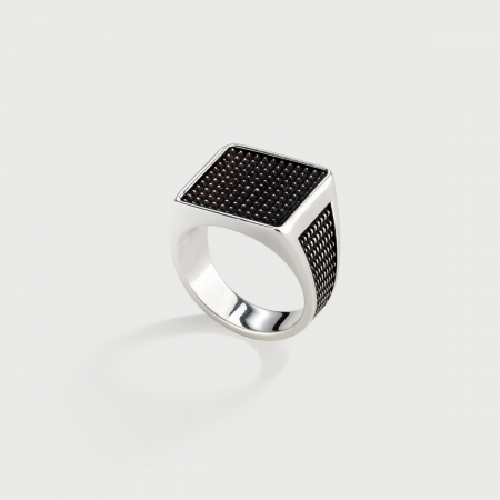 ​Signet Oxidized ​Silver ​Ring for Men-AlmaDiPietra