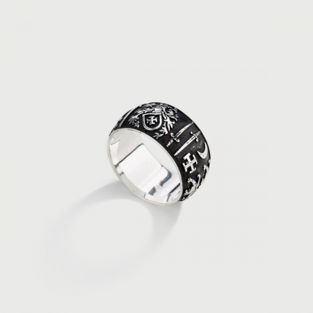 Silver Band Ring for Him, Knight's Patterned Band-AlmaDiPietra