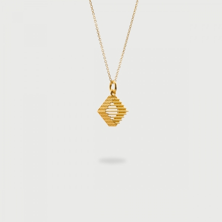 """""""Rhombus Checkered"""" 14K Gold Pendant of """"Linned Drops"""" Collection-AlmaDiPietra""""Rhombus Checkered"""" 14K Gold Pendant of """"Linned Drops"""" Collection"""