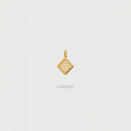 """""""Rhombus Checkered"""" 14K Gold Pendant of """"Linned Drops"""" Collection-AlmaDiPietra"""