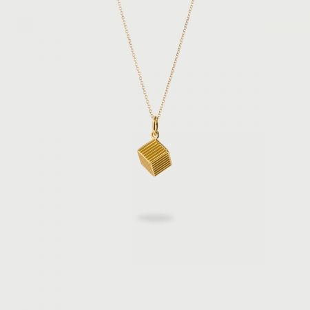 """""""Vertical Cube"""" 14K Gold Pendant of """"Linned Drops"""" Collection-AlmaDiPietra"""