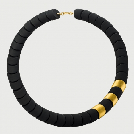 Black Onyx Necklace with 24K Yellow Gold Elements, Statement Necklace-AlmaDiPietra