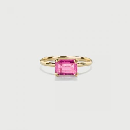 Pink Tourmaline Ring in 14K Yellow Gold-AlmaDiPietra