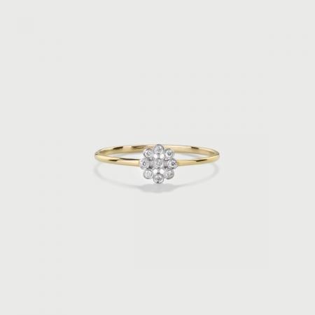 Diamonds Flower Stackable Ring in 14K Yellow Gold-AlmaDiPietra