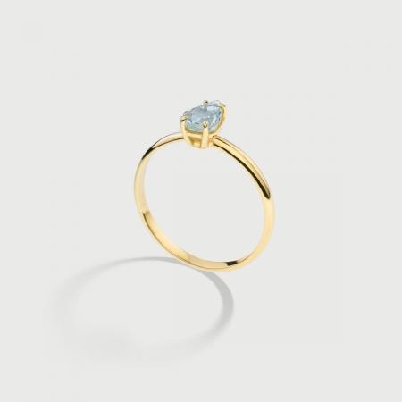 Natural Pear-Cut Aquamarine Ring in 14K Yellow Gold-AlmaDiPietra