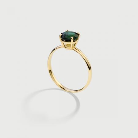 Deep Green Tourmaline Ring in 14K Yellow Gold-AlmaDiPietra