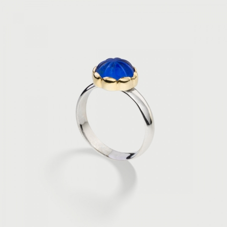Doublet Crystal Quartz with Lapis Lazuli on 14K Yellow Gold and Silver 925 Ring-AlmaDiPietra