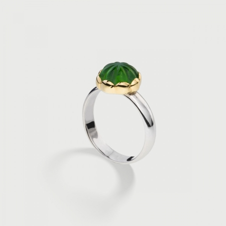 Doublet Crystal Quartz with Dioptase on 14K Yellow Gold and Silver 925 Ring-AlmaDiPietra