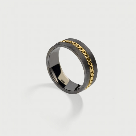 Narrow Textured Silver Band Ring with 14K Gold Chain-AlmaDiPietra