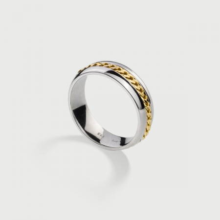 Polished ​Silver Band Ring with 14K Gold Chain-AlmaDiPietra