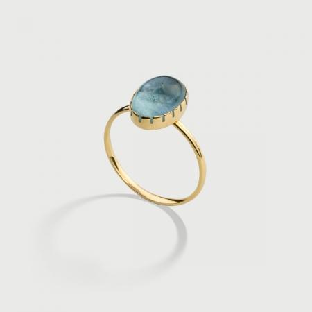 Natural Cabochon Aquamarine Ring in 14K Yellow Gold-AlmaDiPietra