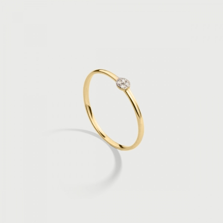 Diamonds Circle Stackable Ring in 14K Yellow Gold-AlmaDiPietra