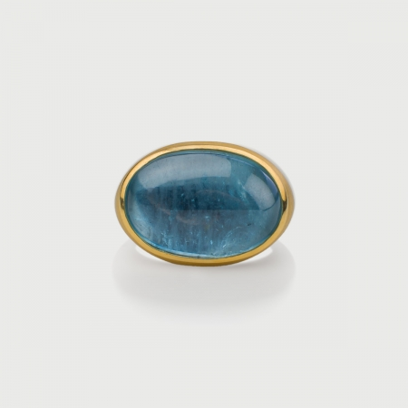 Natural Oval Cabochon Aquamarine Statement Ring in 18K Yellow Gold-AlmaDiPietra