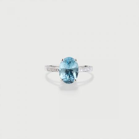 Natural Aquamarine and Diamonds Ring in 18K White Gold-AlmaDiPietra