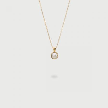 White Freshwater Pearl Pendant in 14K Yellow Gold, Layering Pendant-AlmaDiPietra
