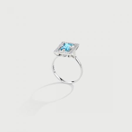 Natural Aquamarine with Diamond Halo Ring in 18K White Gold-AlmaDiPietra