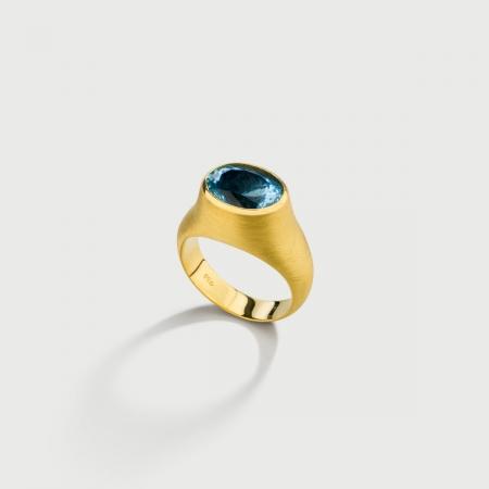 Natural Aquamarine Statement Hollow Ring in 18K Yellow Gold-AlmaDiPietra