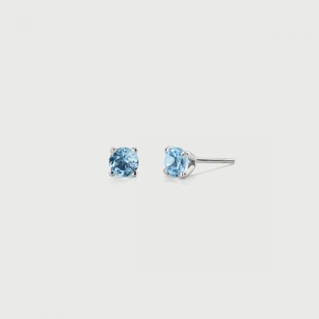 Sky Blue Topaz Stud Earrings in 14K White Gold-AlmaDiPietra