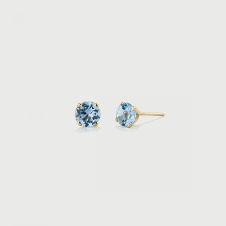 Sky Blue Topaz Stud Earrings in 14K Yellow Gold-AlmaDiPietra
