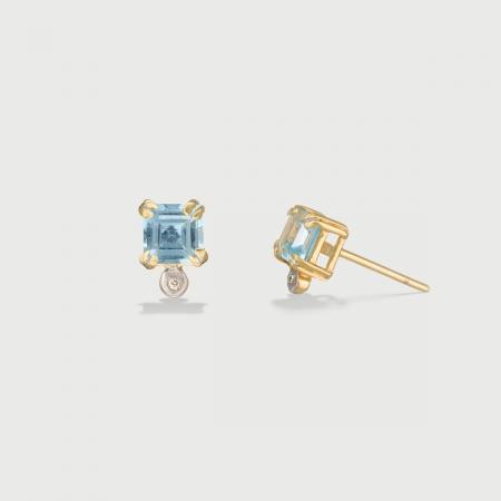 Sky Blue Topaz and Diamond Stud Earrings in 14K Yellow Gold-AlmaDiPietra