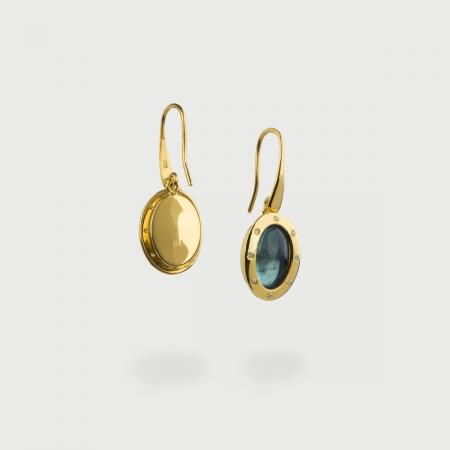 Cabochon Aquamarine and Diamonds Statement Earrings in 18K Yellow Gold-AlmaDiPietra