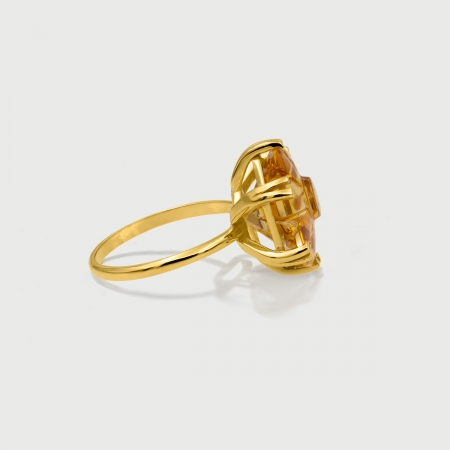 Flower Custom-Cut Citrine 14K Gold Statement Ring-AlmadiPietra