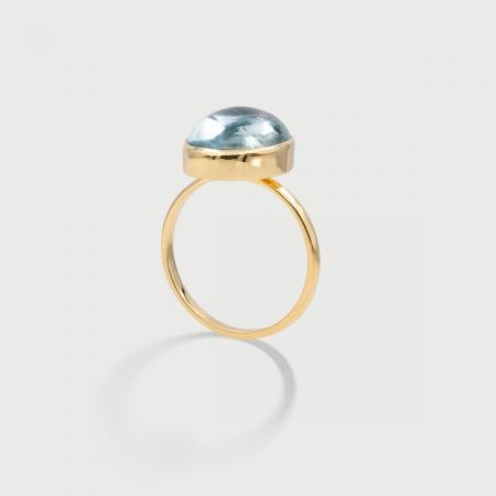 Natural Aquamarine Statement Ring in 14K Yellow Gold-AlmadiPietra