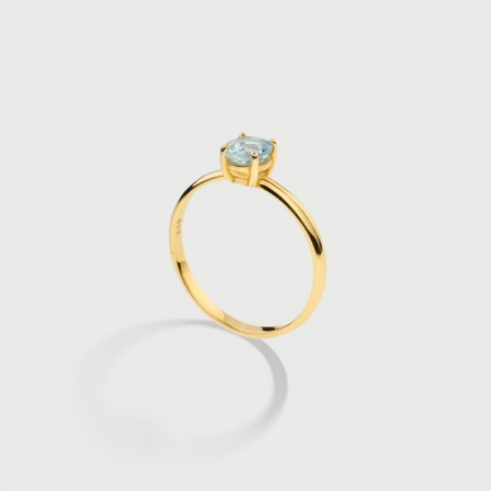 Natural Aquamarine Ring in 14K Yellow Gold-AlmaDiPietra