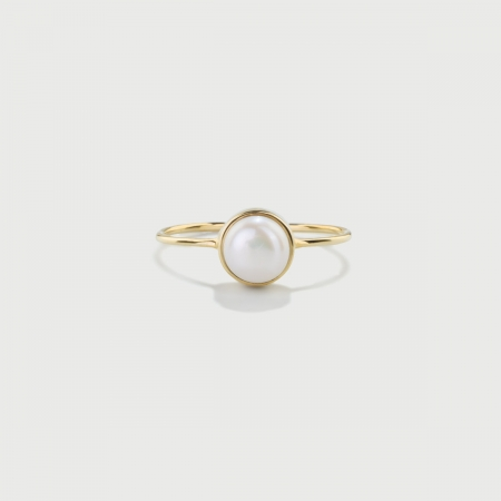 Freshwater White Pearl ring  in 14K Gold-AlmadiPietra