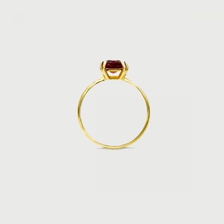 Red Tourmaline Ring in Solid 14K Yellow Gold-AlmadiPietra