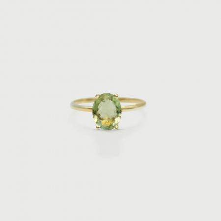 Green Tourmaline Ring in 14K Yellow Gold-AlmadiPietra